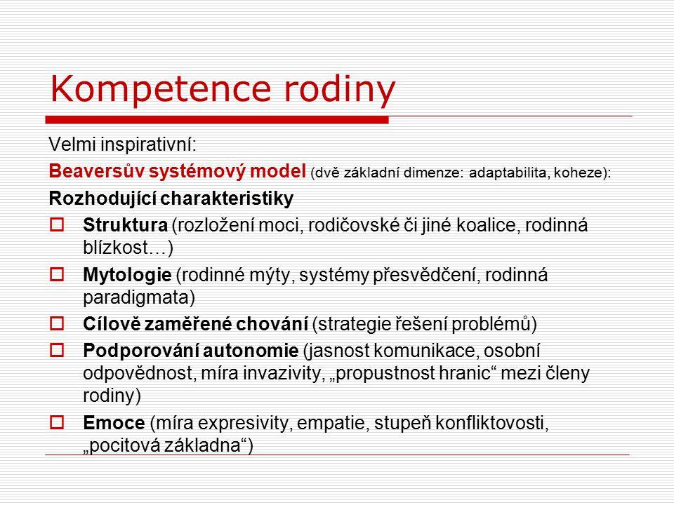Kompetence rodiny Velmi inspirativní: Beaversův systémový model (dvě základní dimenze: adaptabilita, koheze): Rozhodující charakteristiky  Struktura