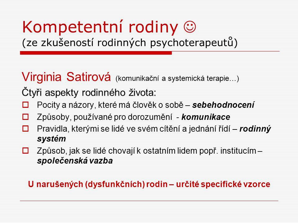 Kompetentní rodiny (ze zkušeností rodinných psychoterapeutů) Virginia Satirová (komunikační a systemická terapie…) Čtyři aspekty rodinného života:  P