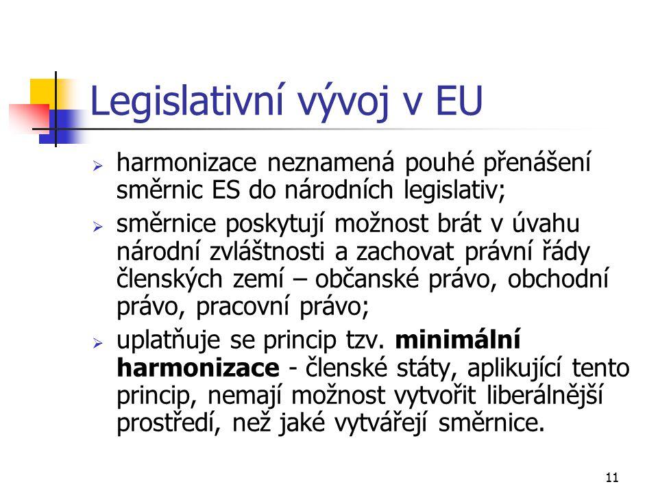 11 Legislativní vývoj v EU  harmonizace neznamená pouhé přenášení směrnic ES do národních legislativ;  směrnice poskytují možnost brát v úvahu národní zvláštnosti a zachovat právní řády členských zemí – občanské právo, obchodní právo, pracovní právo;  uplatňuje se princip tzv.