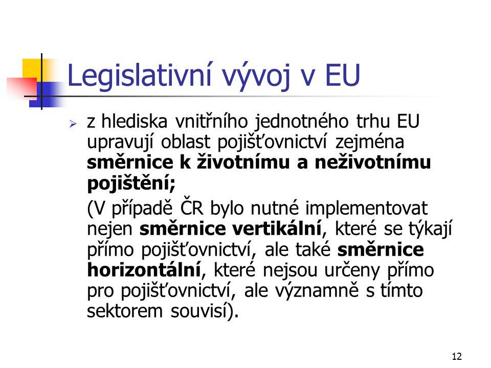 12 Legislativní vývoj v EU  z hlediska vnitřního jednotného trhu EU upravují oblast pojišťovnictví zejména směrnice k životnímu a neživotnímu pojištění; (V případě ČR bylo nutné implementovat nejen směrnice vertikální, které se týkají přímo pojišťovnictví, ale také směrnice horizontální, které nejsou určeny přímo pro pojišťovnictví, ale významně s tímto sektorem souvisí).