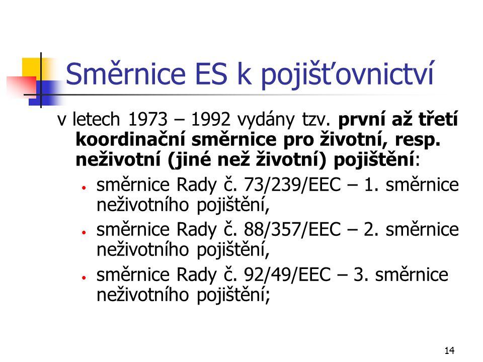 14 Směrnice ES k pojišťovnictví v letech 1973 – 1992 vydány tzv. první až třetí koordinační směrnice pro životní, resp. neživotní (jiné než životní) p
