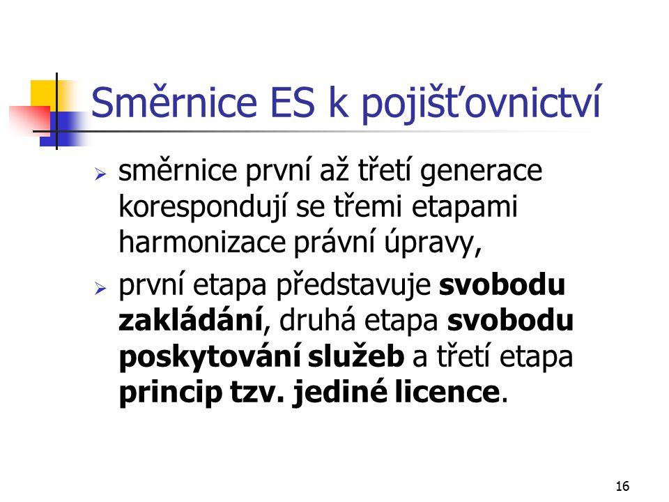 16 Směrnice ES k pojišťovnictví  směrnice první až třetí generace korespondují se třemi etapami harmonizace právní úpravy,  první etapa představuje
