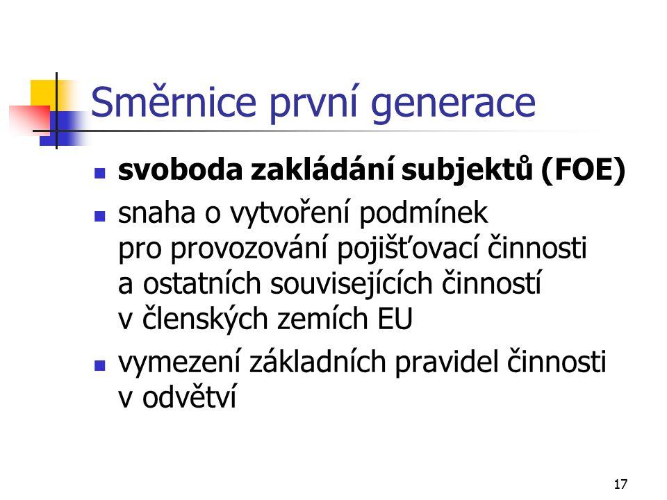 17 Směrnice první generace svoboda zakládání subjektů (FOE) snaha o vytvoření podmínek pro provozování pojišťovací činnosti a ostatních souvisejících činností v členských zemích EU vymezení základních pravidel činnosti v odvětví