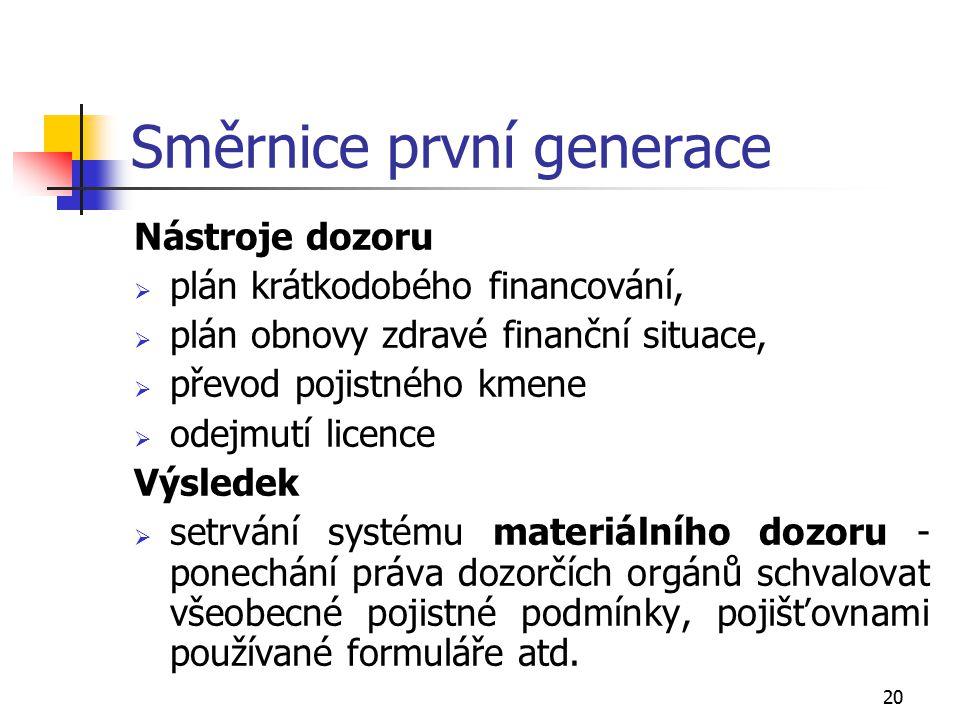 20 Směrnice první generace Nástroje dozoru  plán krátkodobého financování,  plán obnovy zdravé finanční situace,  převod pojistného kmene  odejmut