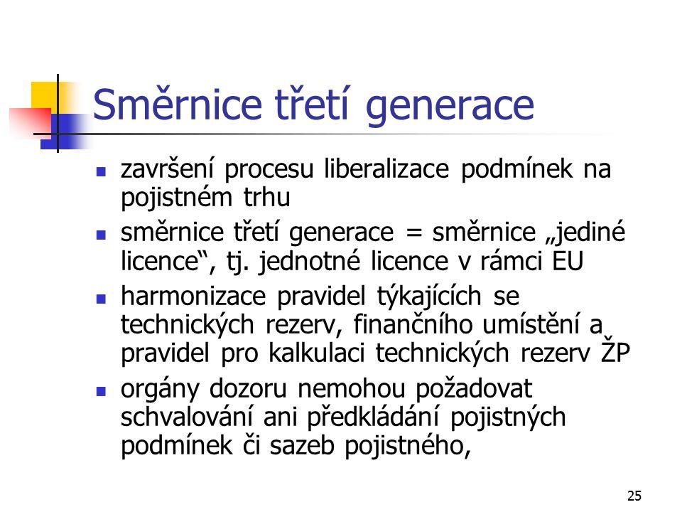 """25 Směrnice třetígenerace završení procesu liberalizace podmínek na pojistném trhu směrnice třetí generace = směrnice """"jediné licence"""", tj. jednotné l"""