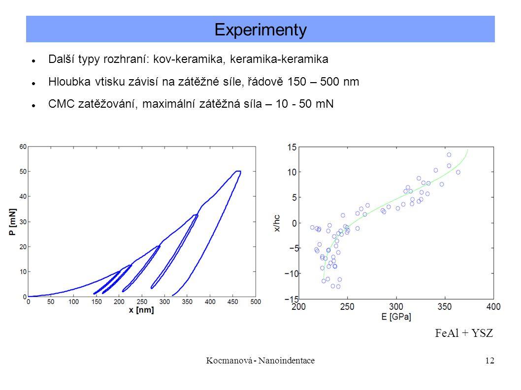 Kocmanová - Nanoindentace12 Další typy rozhraní: kov-keramika, keramika-keramika Hloubka vtisku závisí na zátěžné síle, řádově 150 – 500 nm CMC zatěžování, maximální zátěžná síla – 10 - 50 mN Experimenty FeAl + YSZ