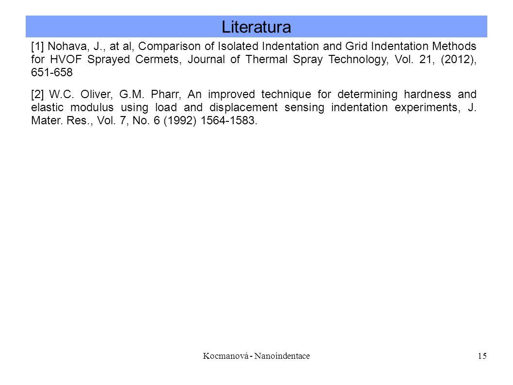 Kocmanová - Nanoindentace15 Literatura [1] Nohava, J., at al, Comparison of Isolated Indentation and Grid Indentation Methods for HVOF Sprayed Cermets, Journal of Thermal Spray Technology, Vol.