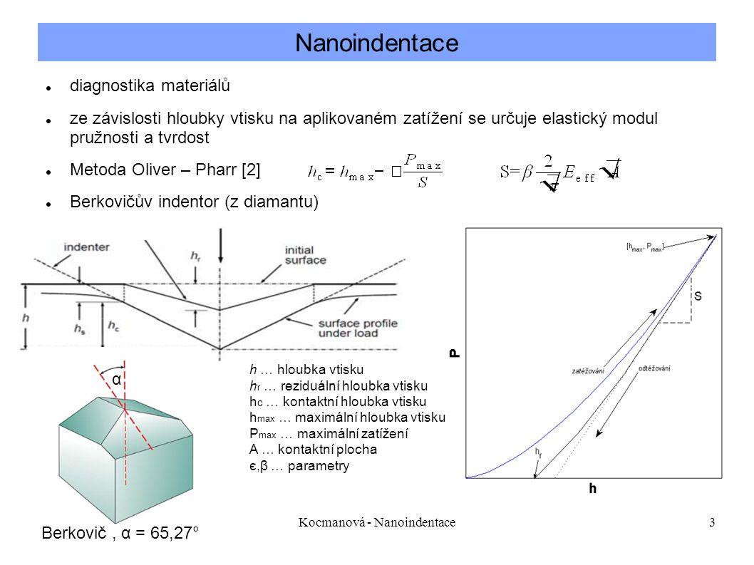 Kocmanová - Nanoindentace3 Nanoindentace diagnostika materiálů ze závislosti hloubky vtisku na aplikovaném zatížení se určuje elastický modul pružnosti a tvrdost Metoda Oliver – Pharr [2] Berkovičův indentor (z diamantu) h … hloubka vtisku h r … reziduální hloubka vtisku h c … kontaktní hloubka vtisku h max … maximální hloubka vtisku P max … maximální zatížení A … kontaktní plocha є,β … parametry Berkovič, α = 65,27° α