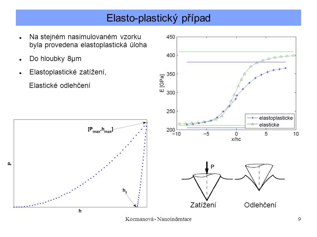 Kocmanová - Nanoindentace9 Elasto-plastický případ Na stejném nasimulovaném vzorku, který byl vytvořený pro elastickou úlohu byla provedena elastoplastická úloha Do hloubky 8µm Elastoplastické zatížení, Elastické odlehčení Zatížení Odlehčení