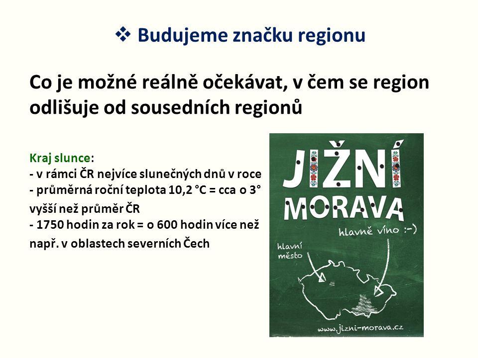  Budujeme značku regionu Co je možné reálně očekávat, v čem se region odlišuje od sousedních regionů Kraj slunce: - v rámci ČR nejvíce slunečných dnů