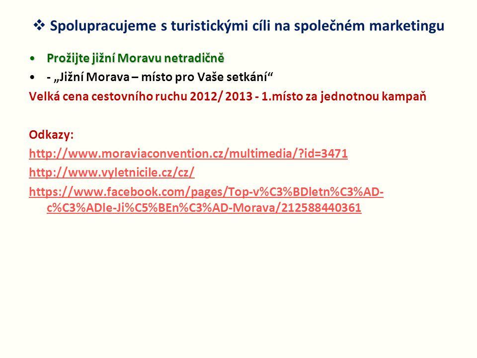 """ Spolupracujeme s turistickými cíli na společném marketingu Prožijte jižní Moravu netradičněProžijte jižní Moravu netradičně - """"Jižní Morava – místo"""