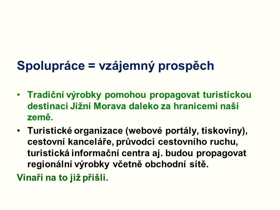Spolupráce = vzájemný prospěch Tradiční výrobky pomohou propagovat turistickou destinaci Jižní Morava daleko za hranicemi naší země. Turistické organi