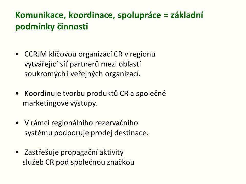 Komunikace, koordinace, spolupráce = základní podmínky činnosti CCRJM klíčovou organizací CR v regionu vytvářející síť partnerů mezi oblastí soukromýc