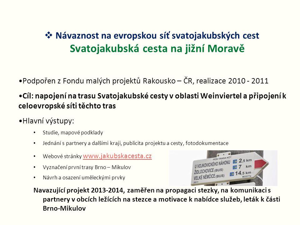 Podpořen z Fondu malých projektů Rakousko – ČR, realizace 2010 - 2011 Cíl: napojení na trasu Svatojakubské cesty v oblasti Weinviertel a připojení k c