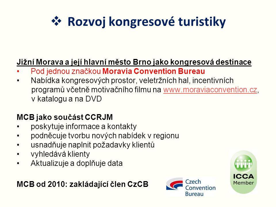 Jižní Morava a její hlavní město Brno jako kongresová destinace Pod jednou značkou Moravia Convention Bureau Nabídka kongresových prostor, veletržních