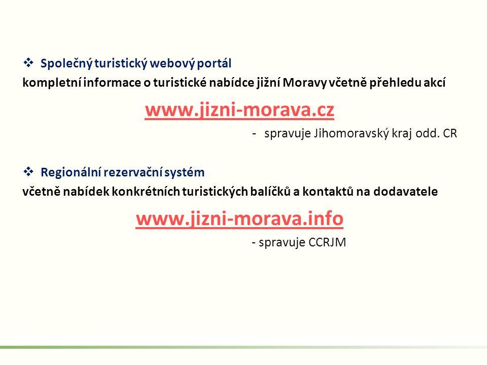  Společný turistický webový portál kompletní informace o turistické nabídce jižní Moravy včetně přehledu akcí www.jizni-morava.cz -spravuje Jihomorav