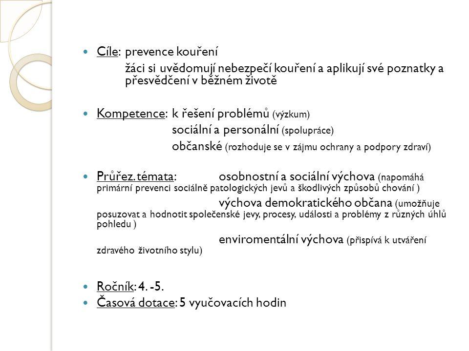 Cíle:prevence kouření žáci si uvědomují nebezpečí kouření a aplikují své poznatky a přesvědčení v běžném životě Kompetence:k řešení problémů (výzkum)