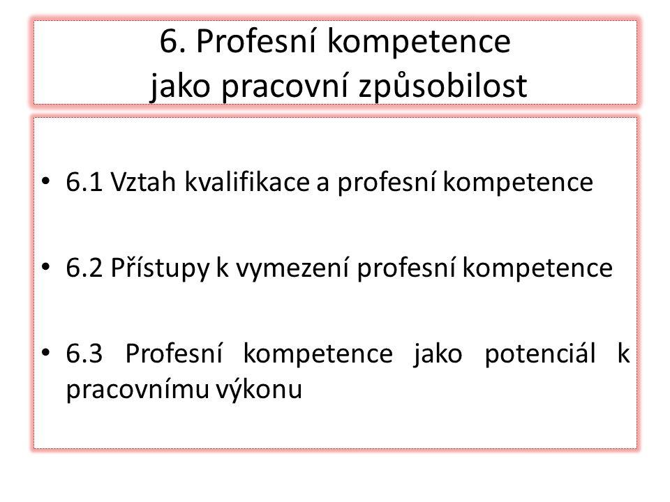 6. Profesní kompetence jako pracovní způsobilost 6.1 Vztah kvalifikace a profesní kompetence 6.2 Přístupy k vymezení profesní kompetence 6.3 Profesní