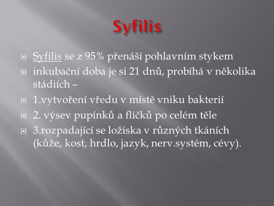  Syfilis se z 95% přenáší pohlavním stykem  inkubační doba je si 21 dnů, probíhá v několika stádiích –  1.vytvoření vředu v místě vniku bakterií 