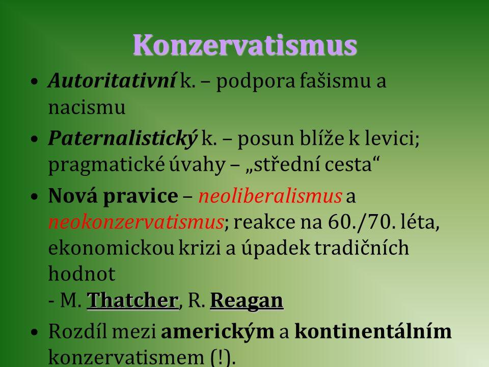 """Konzervatismus Autoritativní k. – podpora fašismu a nacismu Paternalistický k. – posun blíže k levici; pragmatické úvahy – """"střední cesta"""" Nová pravic"""