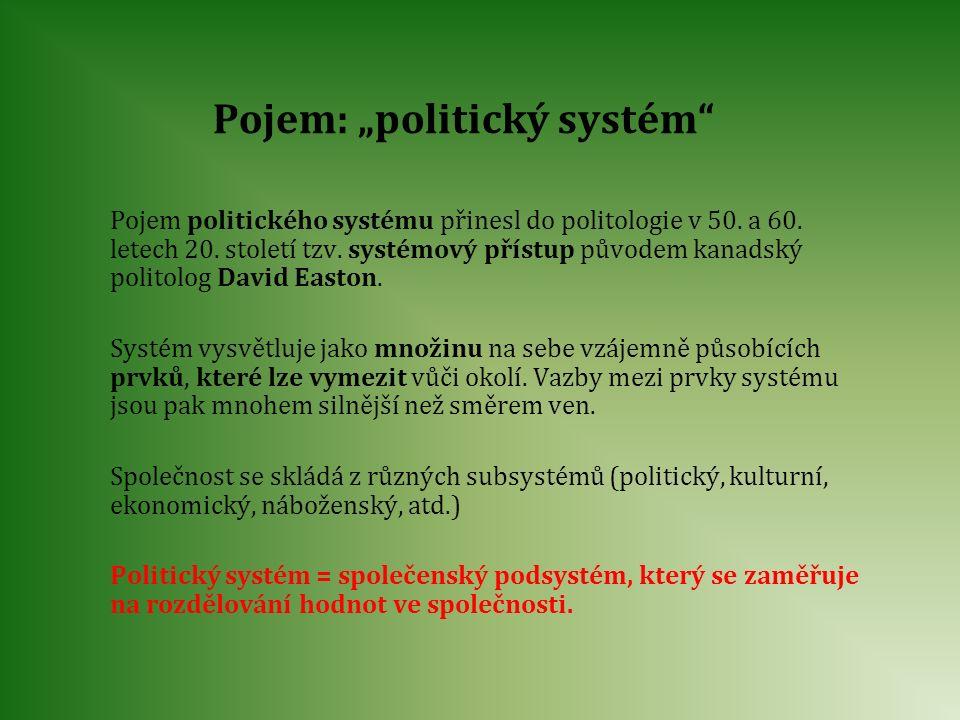 """Pojem: """"politický systém"""" Pojem politického systému přinesl do politologie v 50. a 60. letech 20. století tzv. systémový přístup původem kanadský poli"""