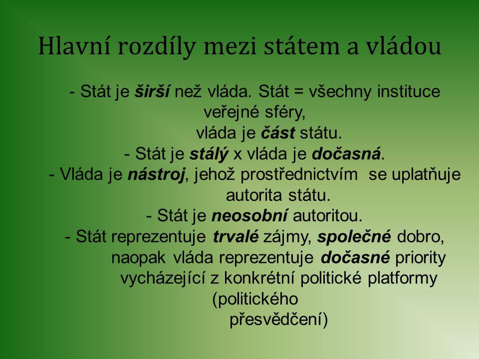 Hlavní rozdíly mezi státem a vládou - Stát je širší než vláda. Stát = všechny instituce veřejné sféry, vláda je část státu. - Stát je stálý x vláda je