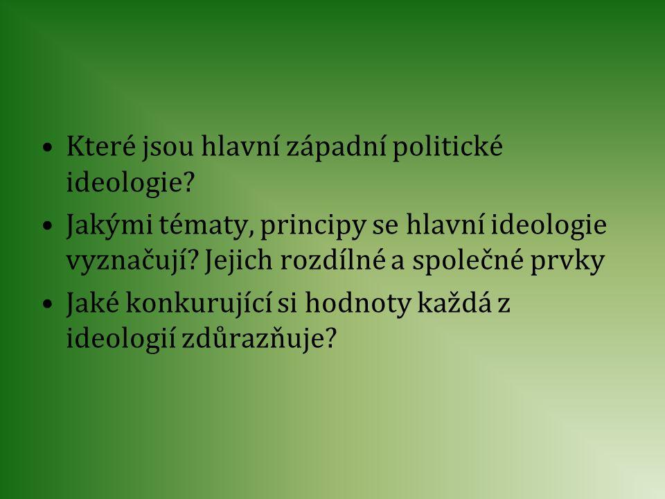 Které jsou hlavní západní politické ideologie? Jakými tématy, principy se hlavní ideologie vyznačují? Jejich rozdílné a společné prvky Jaké konkurujíc