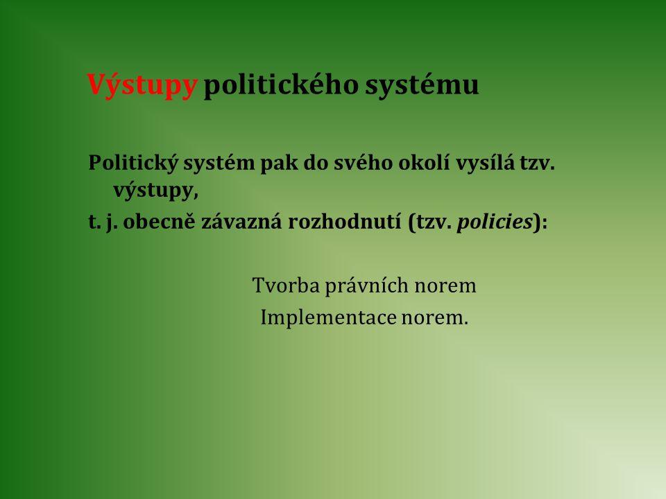 Výstupy politického systému Politický systém pak do svého okolí vysílá tzv. výstupy, t. j. obecně závazná rozhodnutí (tzv. policies): Tvorba právních