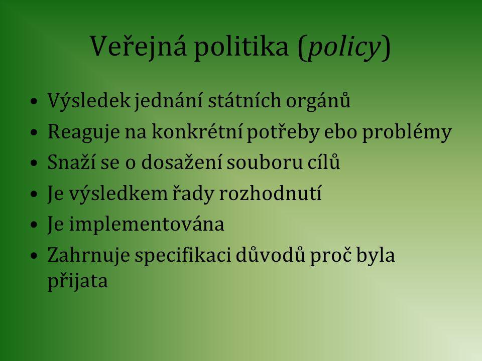 Veřejná politika (policy) Výsledek jednání státních orgánů Reaguje na konkrétní potřeby ebo problémy Snaží se o dosažení souboru cílů Je výsledkem řad