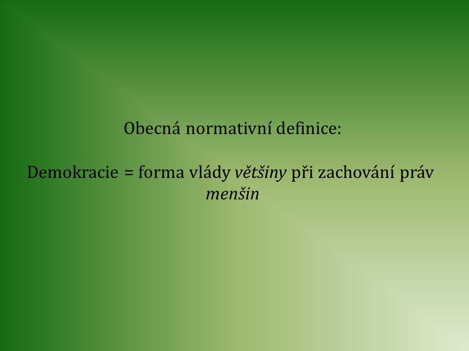 Obecná normativní definice: Demokracie = forma vlády většiny při zachování práv menšin