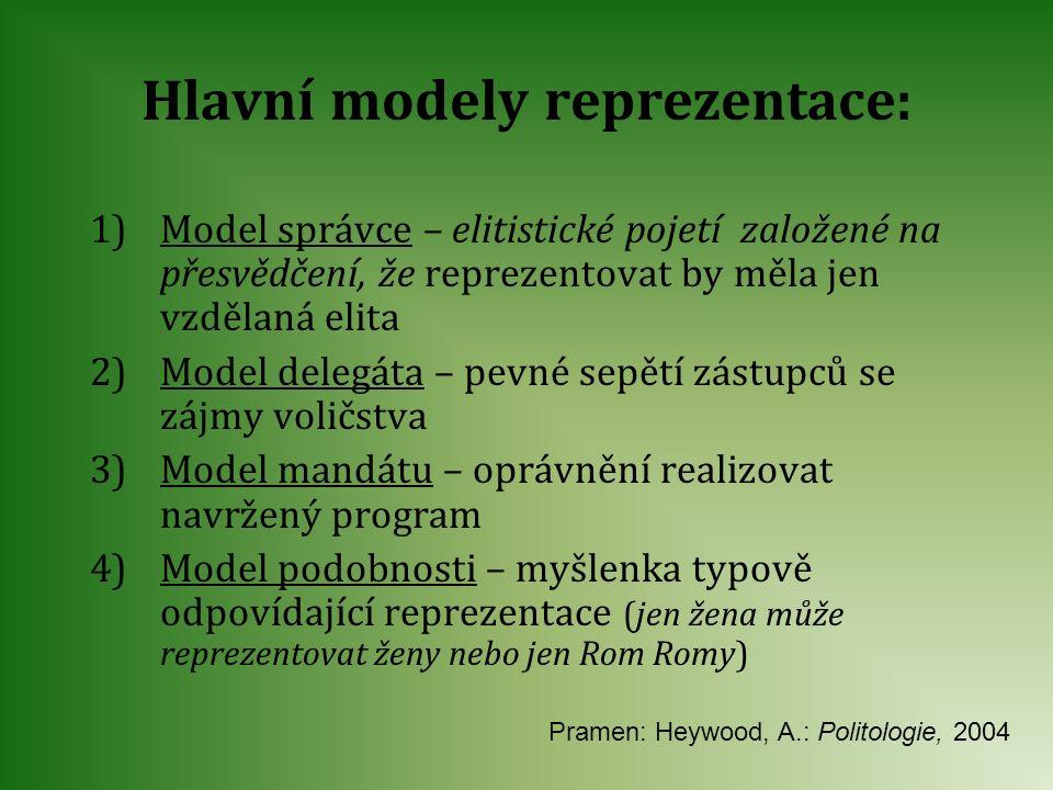 Hlavní modely reprezentace: 1)Model správce – elitistické pojetí založené na přesvědčení, že reprezentovat by měla jen vzdělaná elita 2)Model delegáta