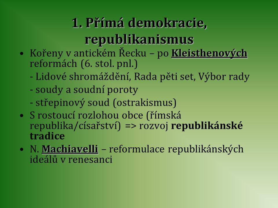 1. Přímá demokracie, republikanismus Kořeny v antickém Řecku – po K KK Kleisthenových reformách (6. stol. pnl.) - Lidové shromáždění, Rada pěti set, V