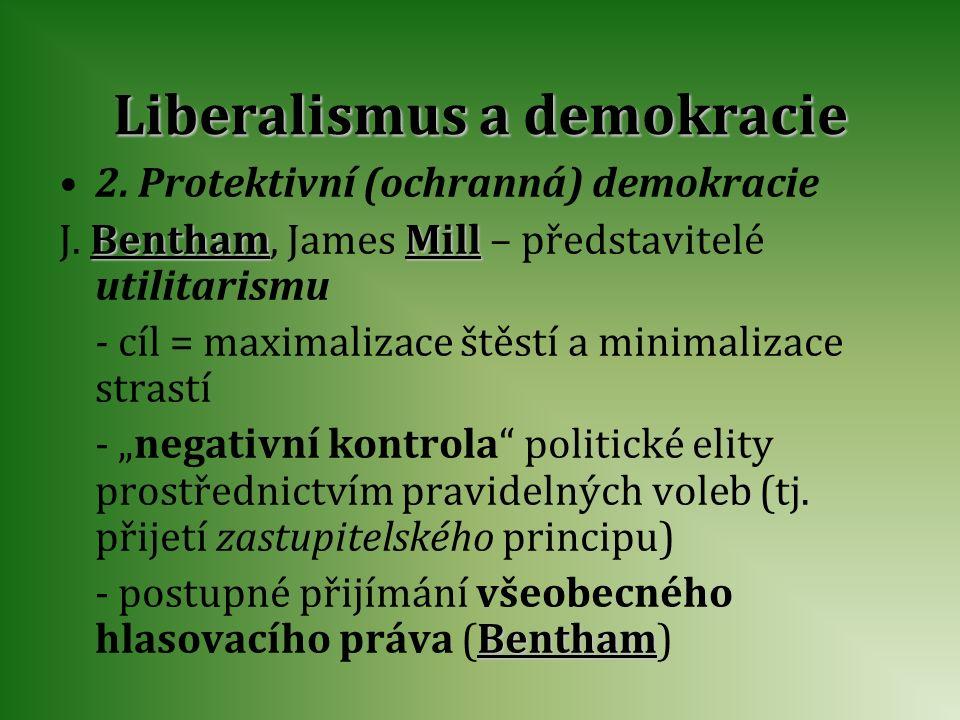 Liberalismus a demokracie 2. Protektivní (ochranná) demokracie J. B BB Bentham, James M MM Mill – představitelé utilitarismu - cíl = maximalizace štěs