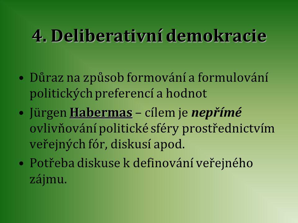4. Deliberativní demokracie Důraz na způsob formování a formulování politických preferencí a hodnot Jürgen H HH Habermas – cílem je nepřímé ovlivňován