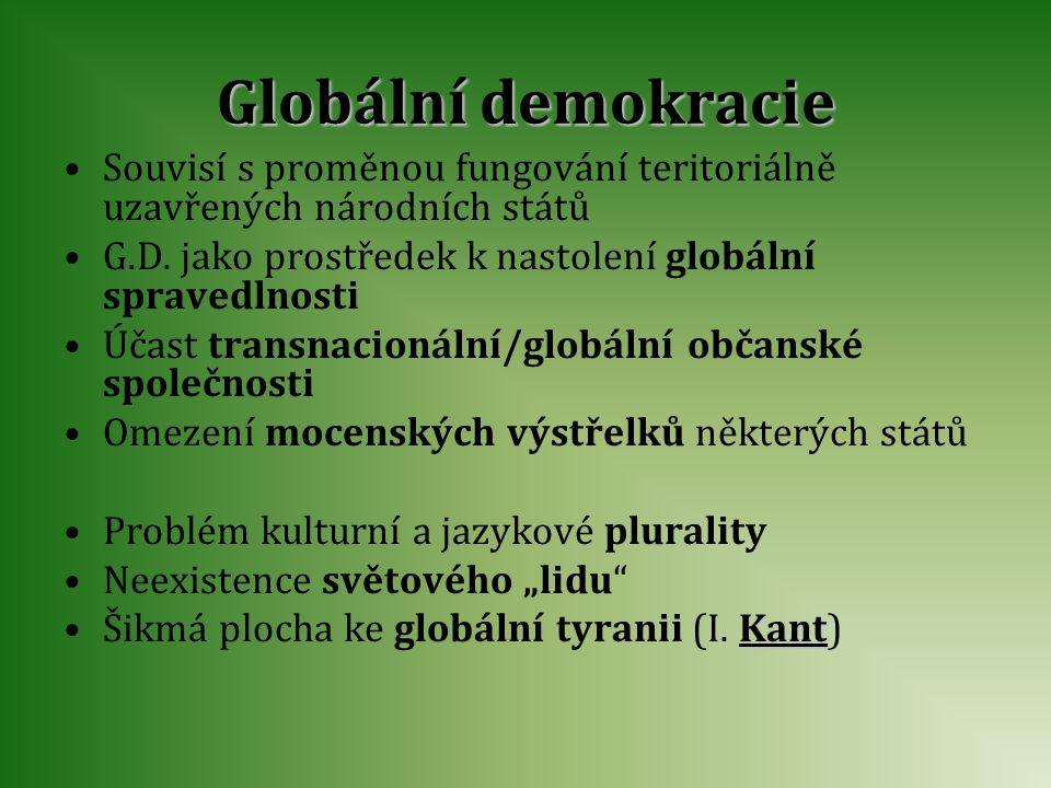 Globální demokracie Souvisí s proměnou fungování teritoriálně uzavřených národních států G.D. jako prostředek k nastolení globální spravedlnosti Účast