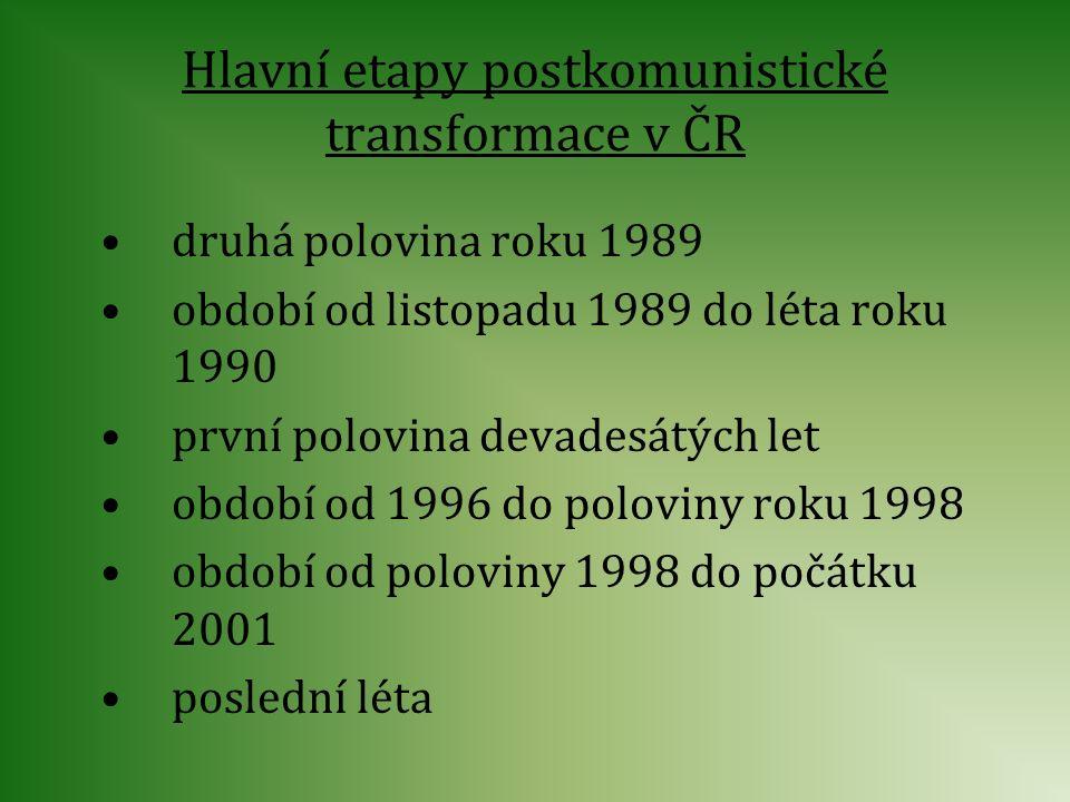 Hlavní etapy postkomunistické transformace v ČR druhá polovina roku 1989 období od listopadu 1989 do léta roku 1990 první polovina devadesátých let ob