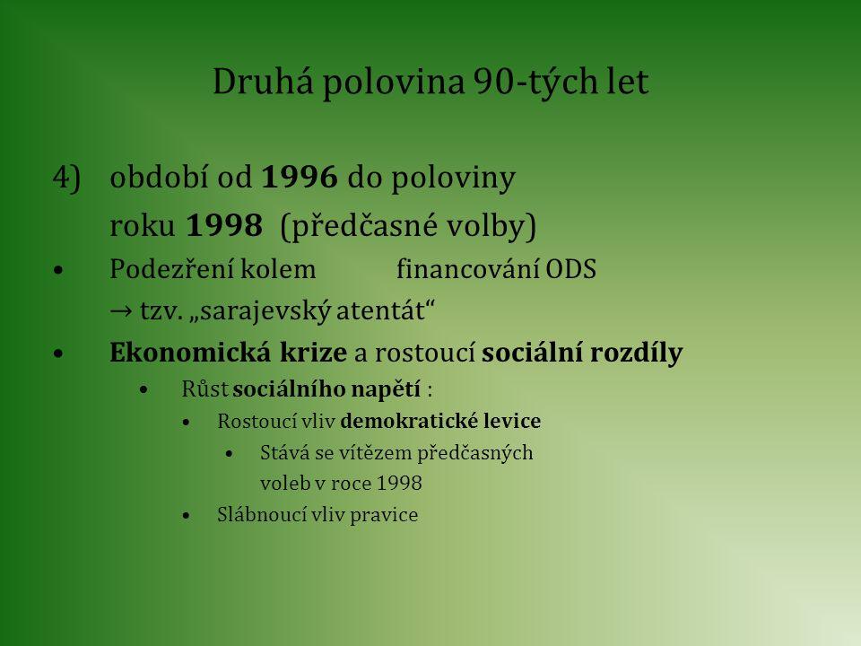 """Druhá polovina 90-tých let 4)období od 1996 do poloviny roku 1998 (předčasné volby) Podezření kolem financování ODS → tzv. """"sarajevský atentát"""" Ekonom"""