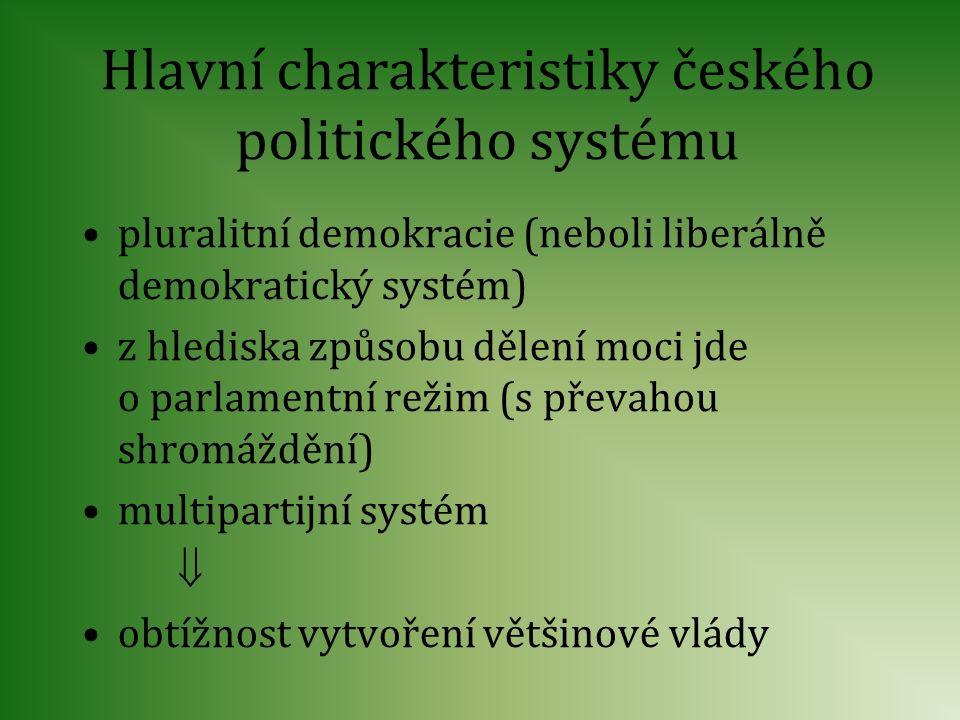 Hlavní charakteristiky českého politického systému pluralitní demokracie (neboli liberálně demokratický systém) z hlediska způsobu dělení moci jde o p