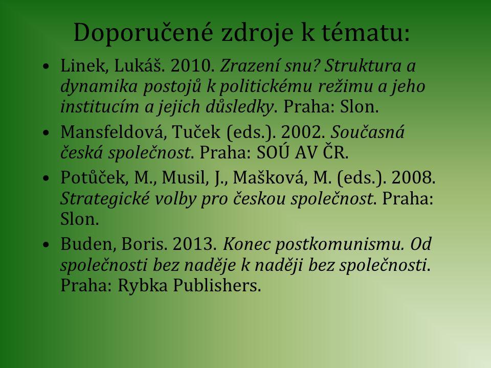 Doporučené zdroje k tématu: Linek, Lukáš. 2010. Zrazení snu? Struktura a dynamika postojů k politickému režimu a jeho institucím a jejich důsledky. Pr