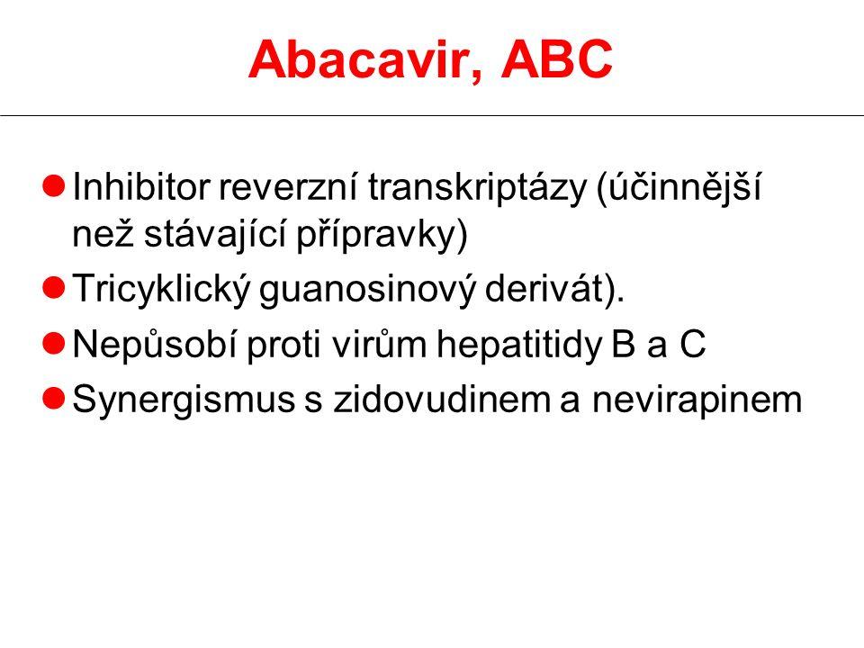 Abacavir, ABC lInhibitor reverzní transkriptázy (účinnější než stávající přípravky) lTricyklický guanosinový derivát). lNepůsobí proti virům hepatitid