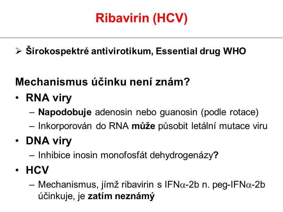  Širokospektré antivirotikum, Essential drug WHO Mechanismus účinku není znám? RNA viry –Napodobuje adenosin nebo guanosin (podle rotace) –Inkorporov