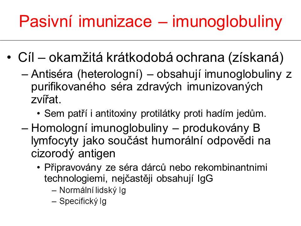 Cíl – okamžitá krátkodobá ochrana (získaná) –Antiséra (heterologní) – obsahují imunoglobuliny z purifikovaného séra zdravých imunizovaných zvířat. Sem