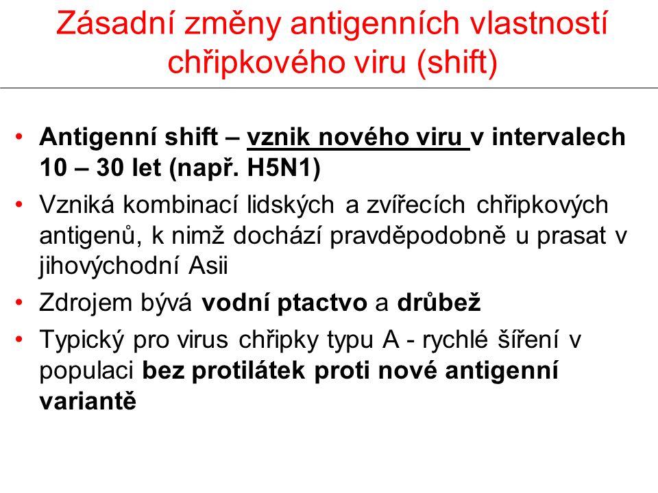 Zásadní změny antigenních vlastností chřipkového viru (shift) Antigenní shift – vznik nového viru v intervalech 10 – 30 let (např. H5N1) Vzniká kombin