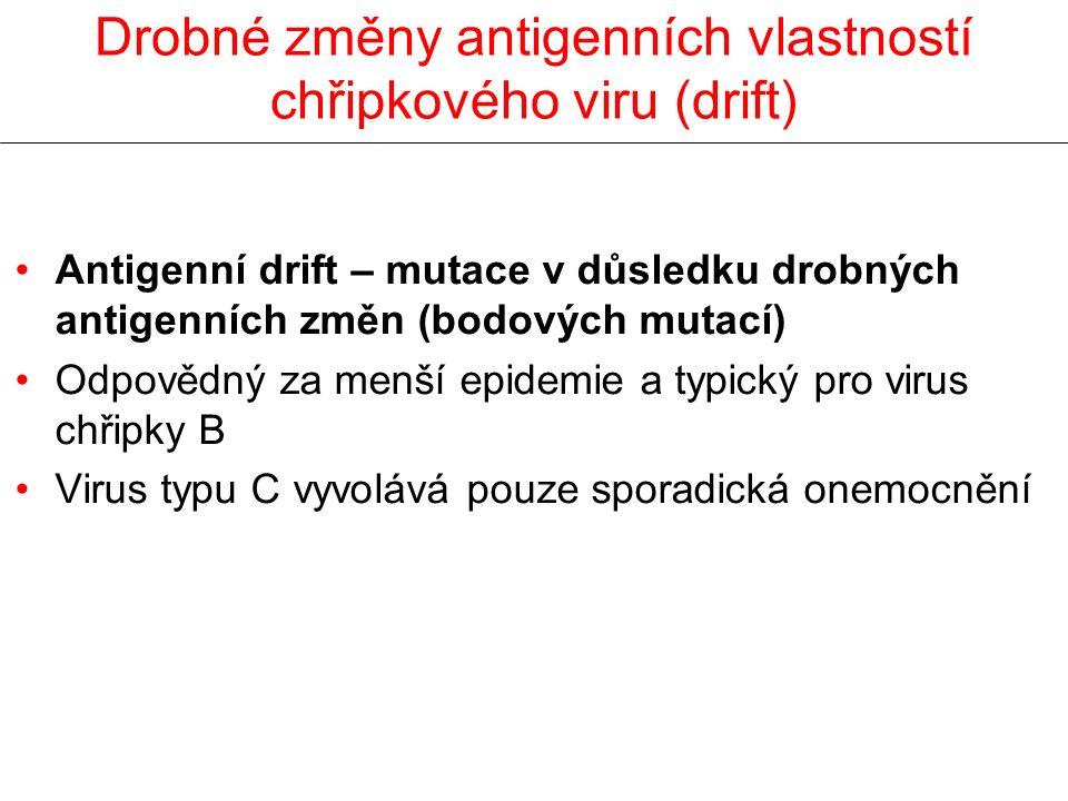 Drobné změny antigenních vlastností chřipkového viru (drift) Antigenní drift – mutace v důsledku drobných antigenních změn (bodových mutací) Odpovědný
