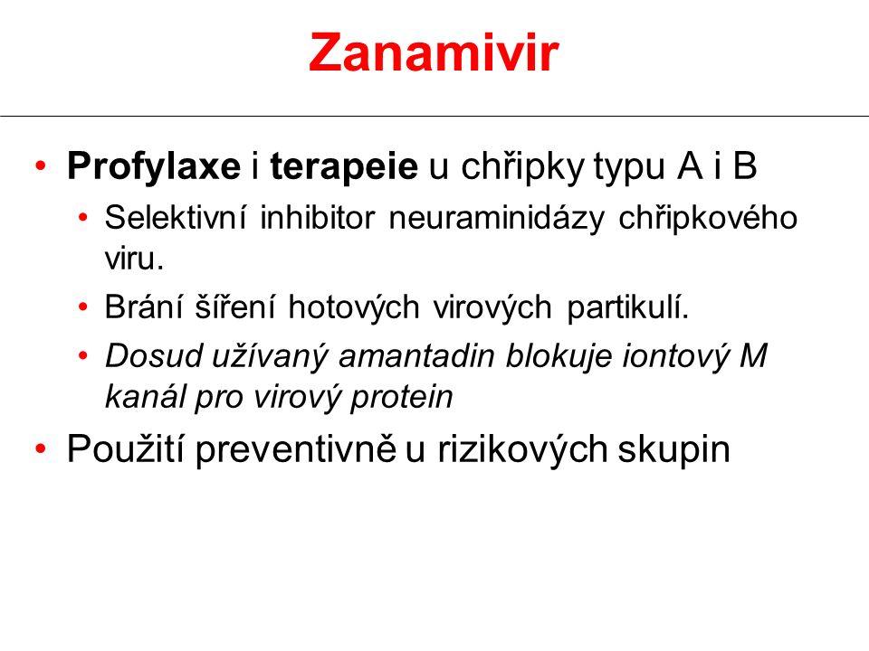 Zanamivir Profylaxe i terapeie u chřipky typu A i B Selektivní inhibitor neuraminidázy chřipkového viru. Brání šíření hotových virových partikulí. Dos