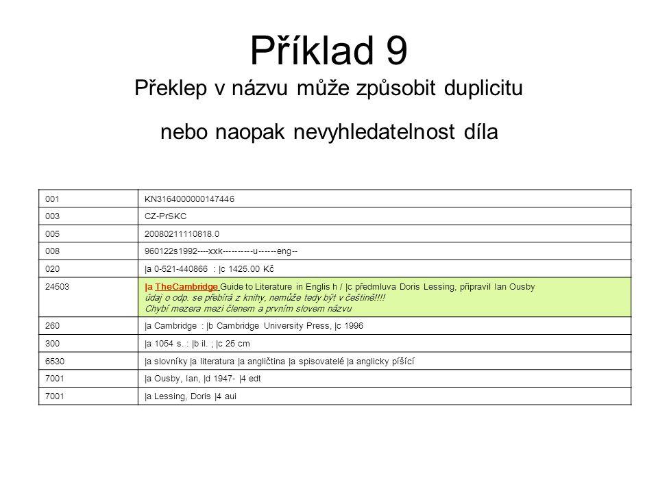 Příklad 9 Překlep v názvu může způsobit duplicitu nebo naopak nevyhledatelnost díla 001KN3164000000147446 003CZ-PrSKC 00520080211110818.0 008960122s19