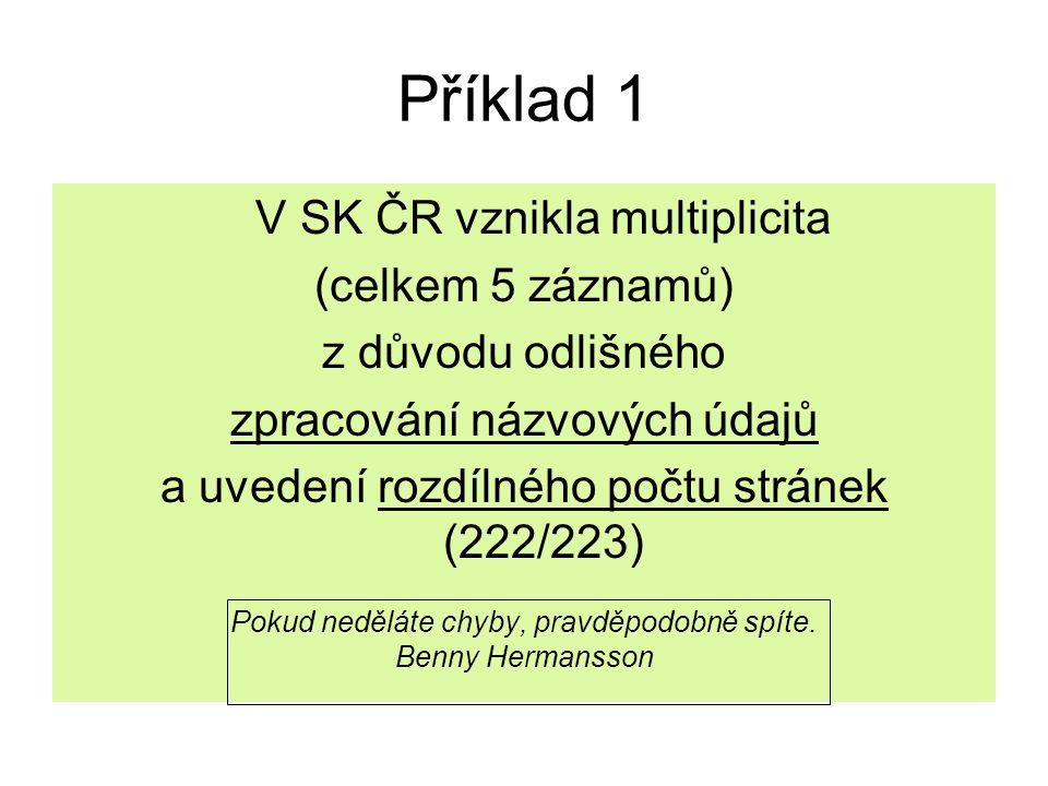 Příklad 1 V SK ČR vznikla multiplicita (celkem 5 záznamů) z důvodu odlišného zpracování názvových údajů a uvedení rozdílného počtu stránek (222/223) P