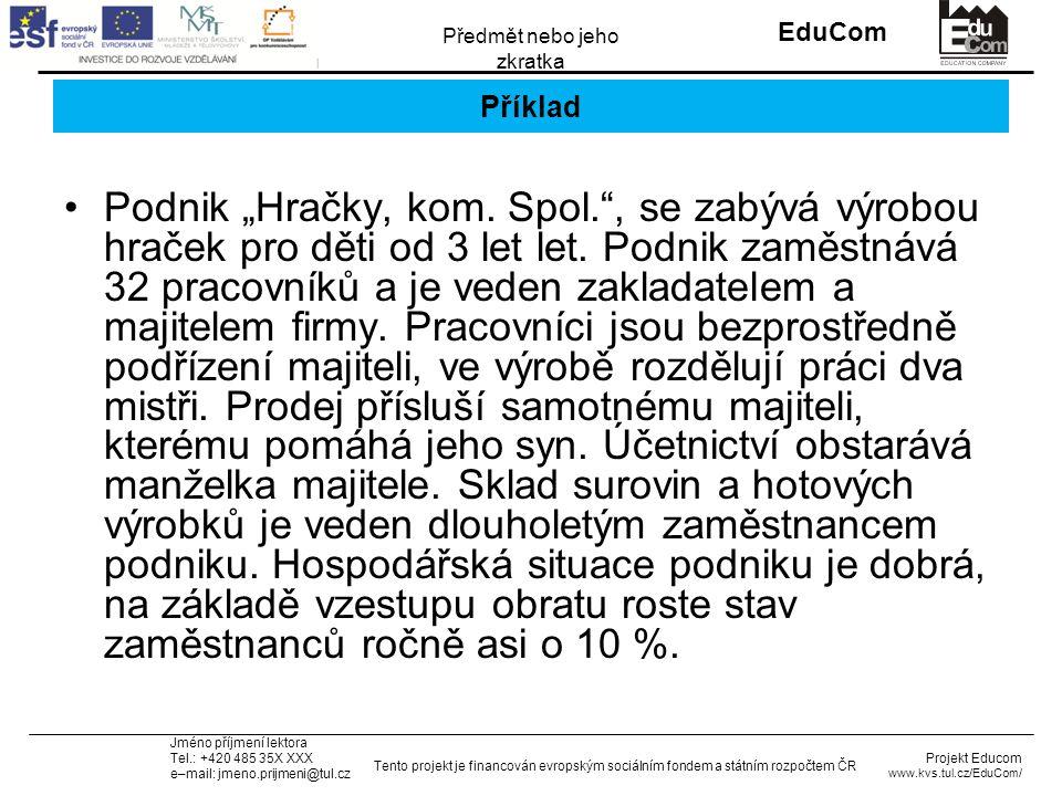 """INVESTICE DO ROZVOJE VZDĚLÁVÁNÍ EduCom Projekt Educom www.kvs.tul.cz/EduCom/ Tento projekt je financován evropským sociálním fondem a státním rozpočtem ČR Předmět nebo jeho zkratka Jméno příjmení lektora Tel.: +420 485 35X XXX e–mail: jmeno.prijmeni@tul.cz Příklad Podnik """"Hračky, kom."""