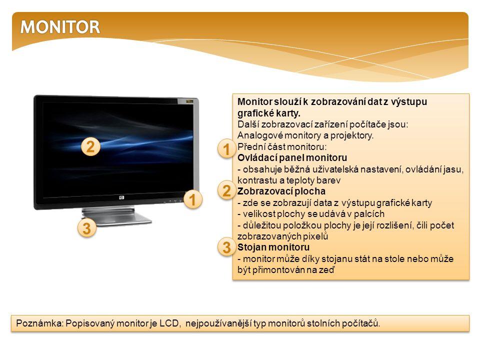 Monitor slouží k zobrazování dat z výstupu grafické karty.