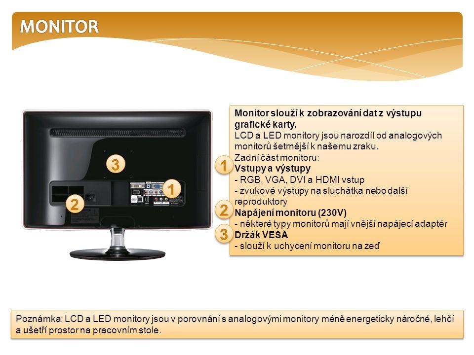 LCD a LED monitor Je dnes běžnou výbavou stolního počítače.
